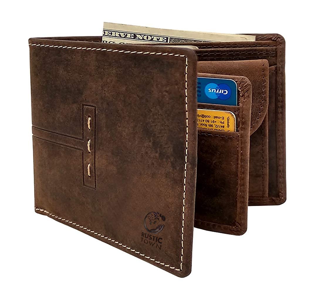 811d656d2c63a0 Amazon.com: Wallet for Men-Genuine Leather RFID Blocking Bifold Wallet With  Coin Pocket (Dark Brown): Shoes