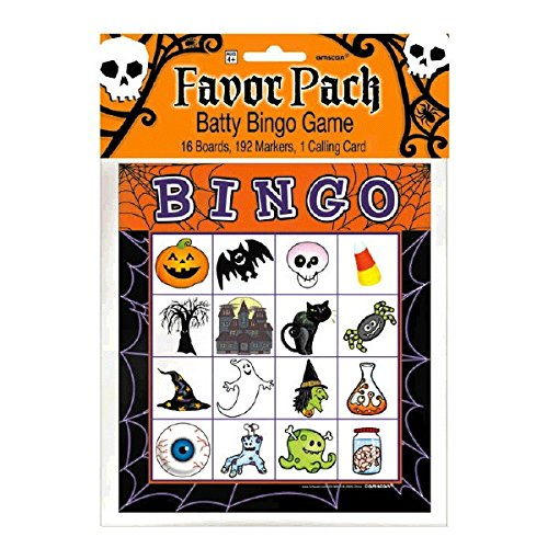 Halloween Bingo Card Party Game - For 16 Players, Ages 4 & Up -