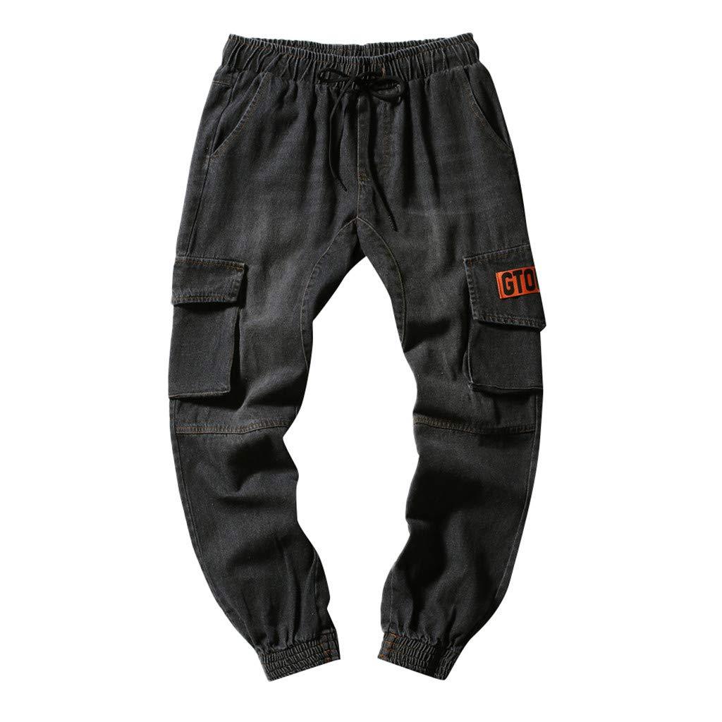 Allywit Mens Pant, Men's Casual Slim Fit Sports Loose Pants Ankle-Length Cotton Trousers Baggy Pants Black