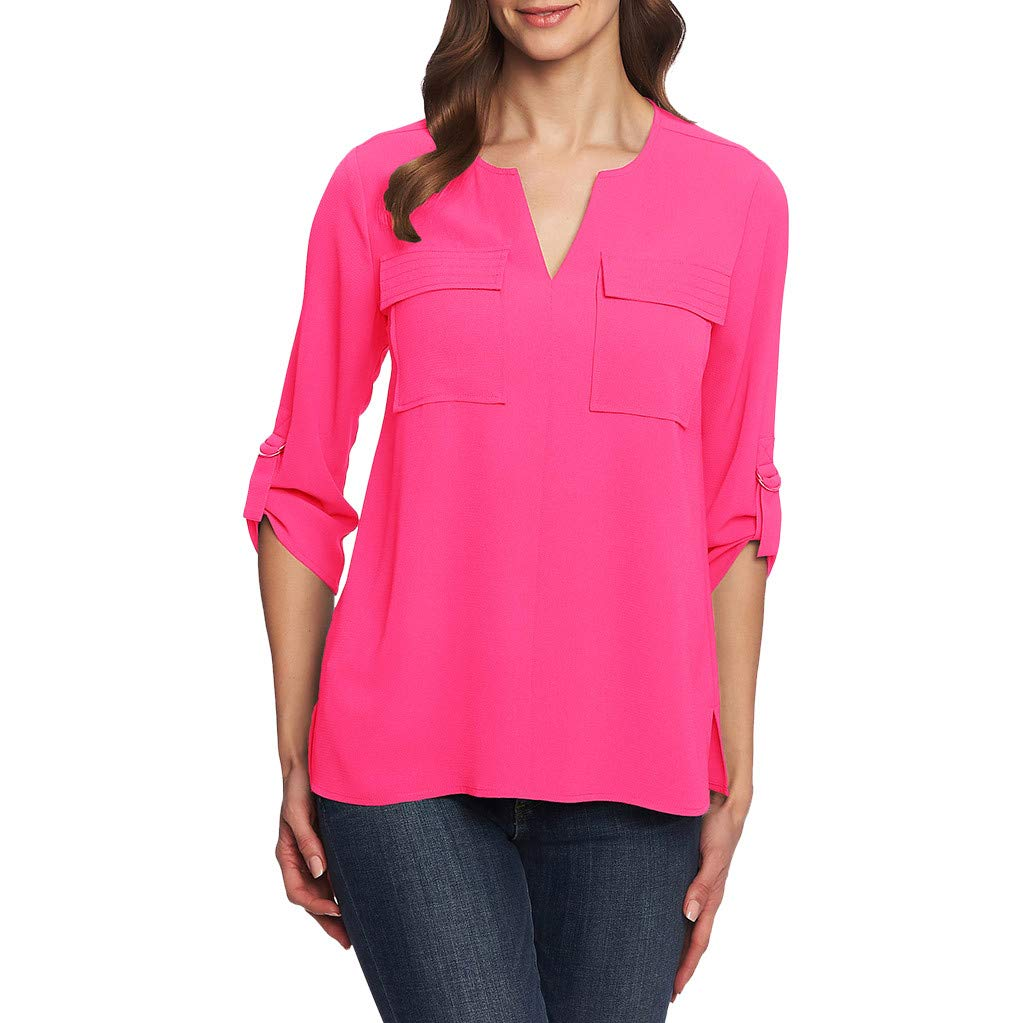 ❤️ Flame-mignons ❤️ Women's Button Down Shirts Roll-up Sleeve Blouse V Neck Casual Tunics Solid Color Tops with Pockets Hot Pink by ❤️ Flame-mignons ❤️