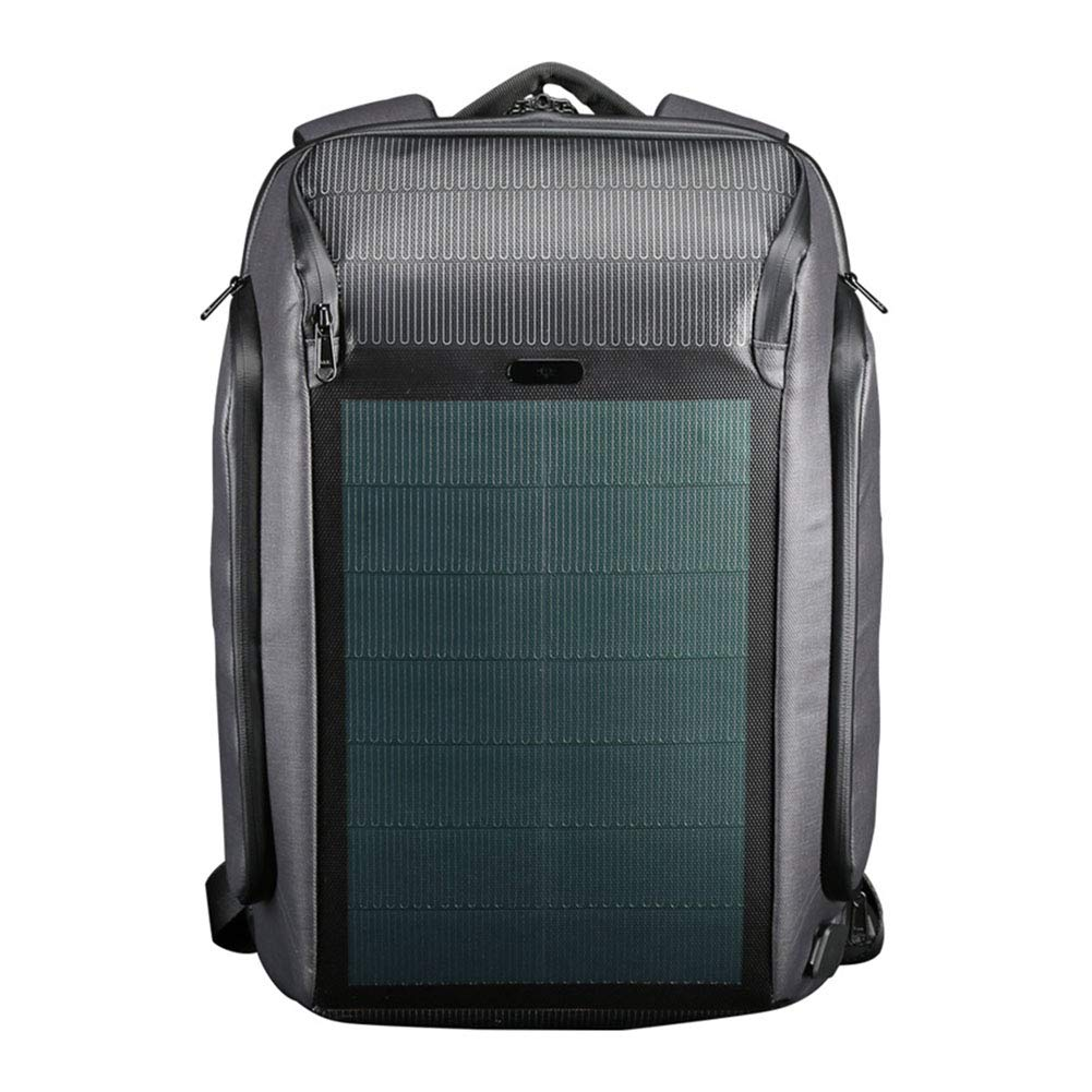 ソーラーパワードバックパック、USB 充電ポート耐久性ナップサックみとめ機能ノートパソコン旅行デイパック防水アンチ盗難屋外リュックサック,Black,32*46*15cm 32*46*15cm Black B07MDHZB48