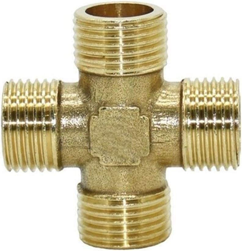 QWXX 1/2 inch Cross Connector Brass 4 way Pipe Fitting copper crosswater splitter water pipe connector 10 pcs Easy to use (Color : 1I2) 1i2