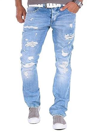 Blaue zerrissene jeans herren