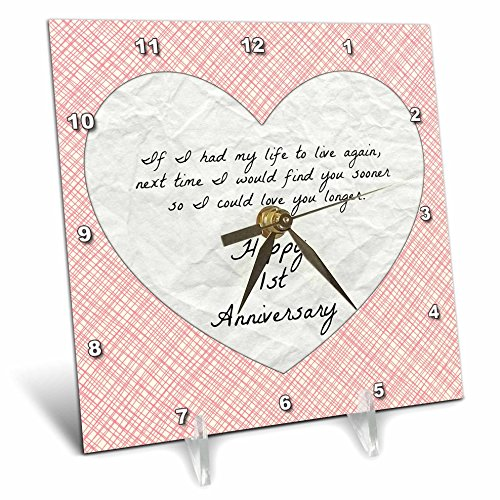 3dRose 1st Anniversary Love You with Faux Paper-Like Background and Design - Desk Clock, 6 by 6-Inch (dc_221891_1) by 3dRose