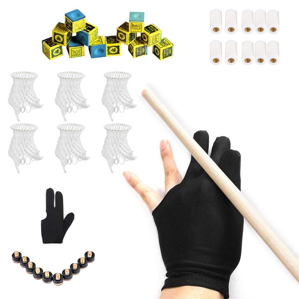 ZHUOTOP 12Pcs Snooker Billiard Pool Dry Chalk+10Pcs 12mm Cue Tips+10Pcs 12mm Fiber Ferrule Glue Screw-On Cue Tip+Three Finger Glove+6 Mesh Net Bag Kit Snooker Accessories