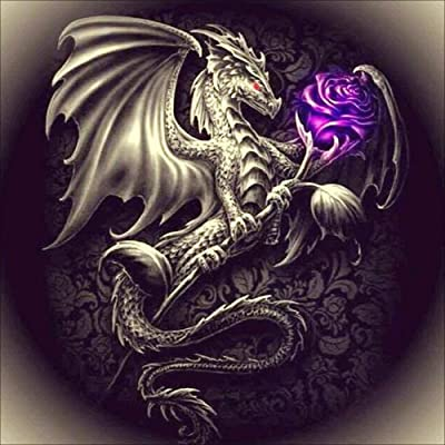 URYY DIY 5D Diamond Painting Kit,Square Full Drill Resin Rhinestone Embroidery Cross Stitch Arts Craft for Adults/Kids,Dragon and Purple Rose: Arts, Crafts & Sewing
