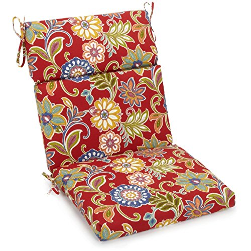 Blazing Needles Spun Polyester Patterned Outdoor Squared Seat/Back Chair Cushion, 20