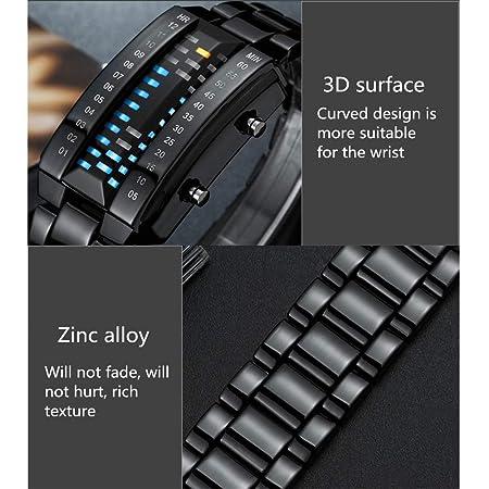 Mmyunx Mens LED Relojes binarios LED Digital Impermeable Relojes de Acero Inoxidable Reloj clásico Moda Creativa Negro Plateado Relojes de Pulsera: ...