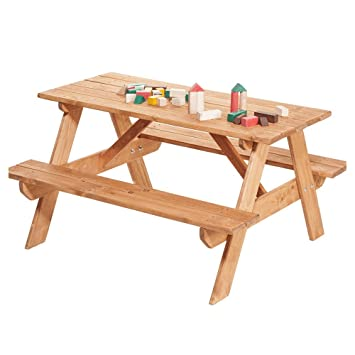 IMPWOOD Table de Jardin pour Enfants avec bancs et ...