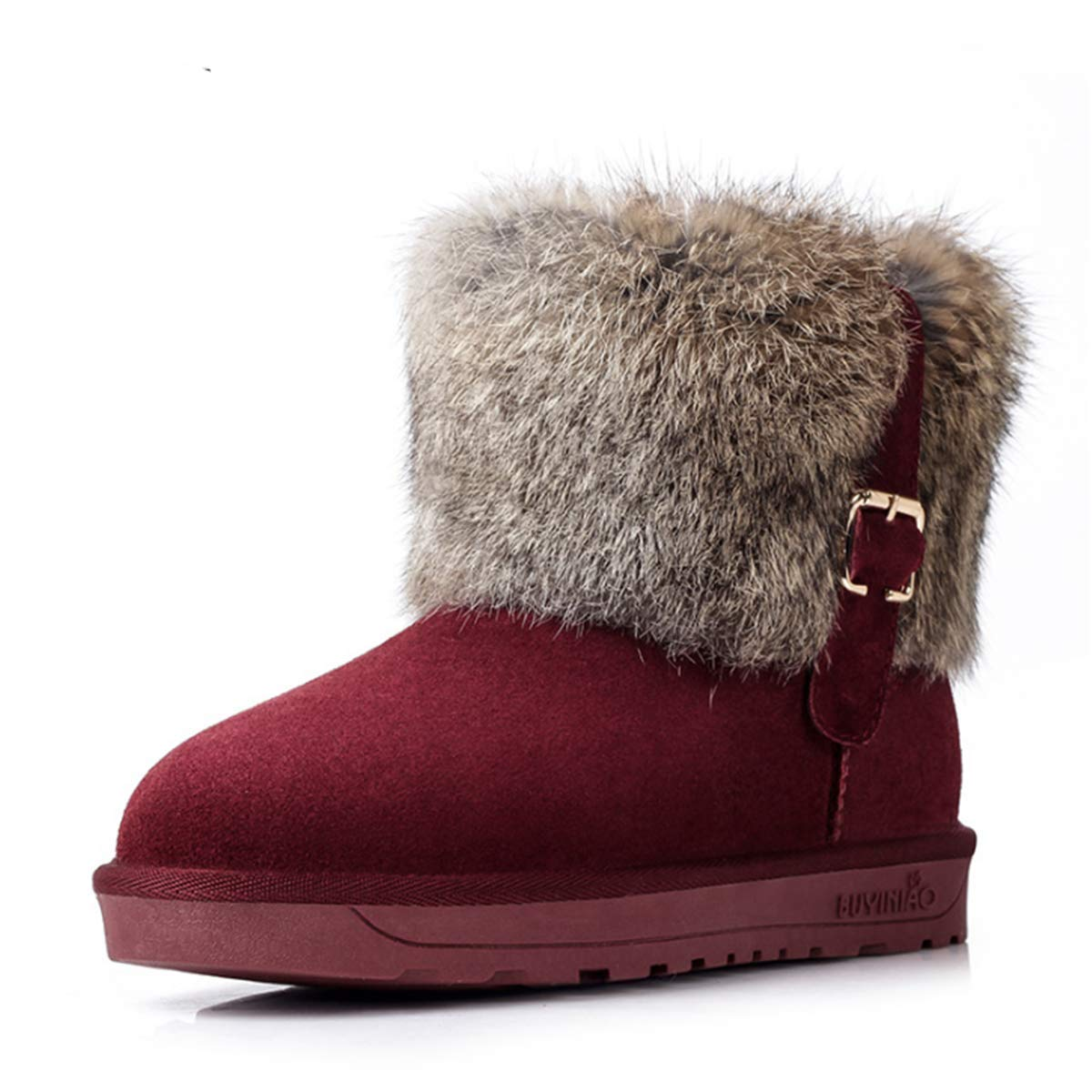 Bottes de Neige la Femme Vineux Hiver Chaud 2406 Chaussure de Neige Talon Plat Marron Bottes de Fourrée à Enfiler Noir Fourrure Peluche Bot Bottines Cuissardes Casual à la Maison-Fanessy Rouge Vineux 88c8466 - piero.space