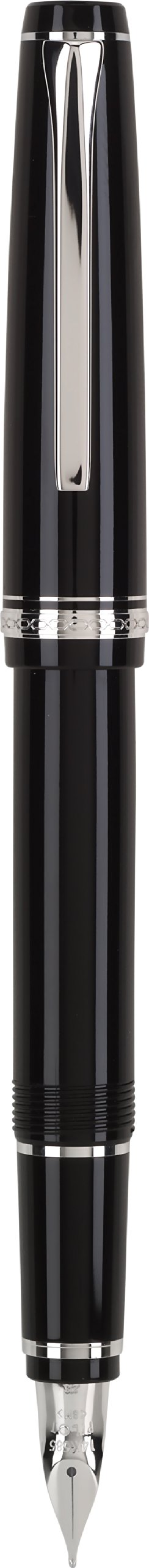Pilot Namiki Falcon Collection Fountain Pen, Black with Rhodium Accents, Soft Medium Nib (60742)