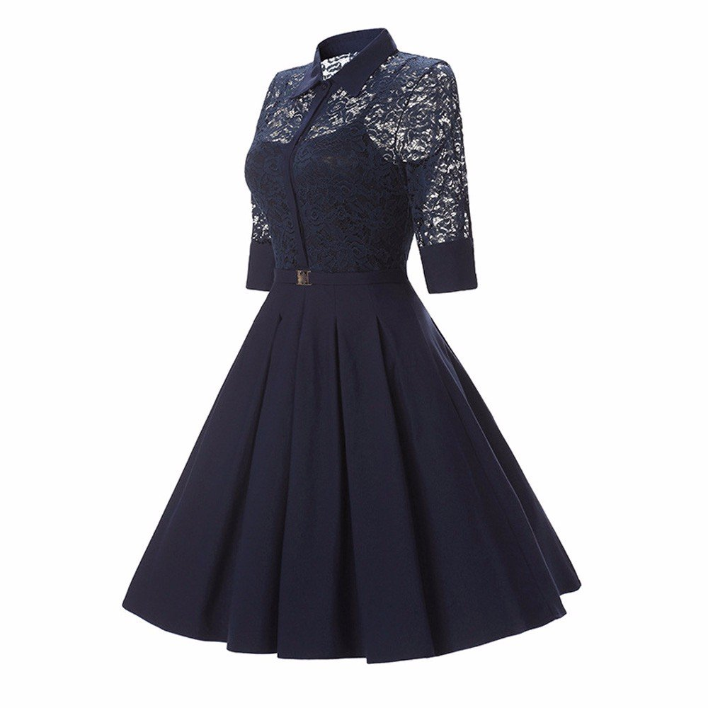 UONQD Women Vintage Lace Formal Wedding Cocktail Party Retro Swing Dress (,)  at Amazon Womens Clothing store: