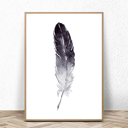 Black Grey Blue Feather Poster Minimalist Art Feathers Wall Art Prints Set of 3