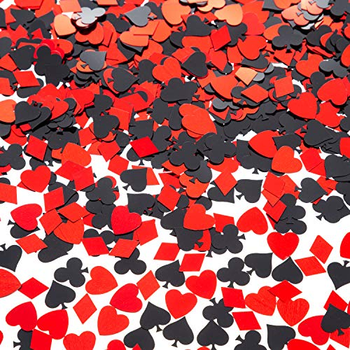 EMAAN Casino Foil Confetti Sequins, Decorative Table, Light Up Your Poker Theme Party (Red, Black) -