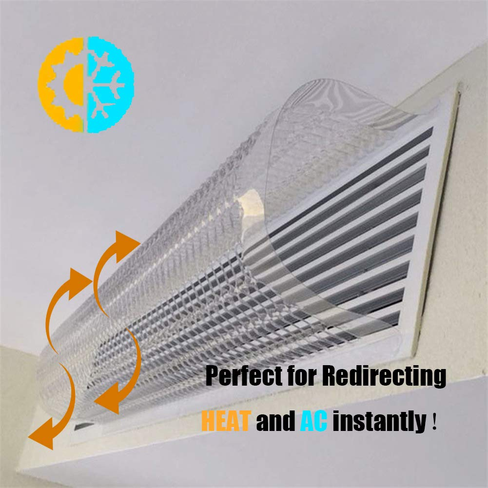 Liveinu Unique Design Adjustable Reusable Heat and Air Deflector for Vents, Sidewall, RV, Home HVAC, AC and Ceiling Registers 6 Pcs