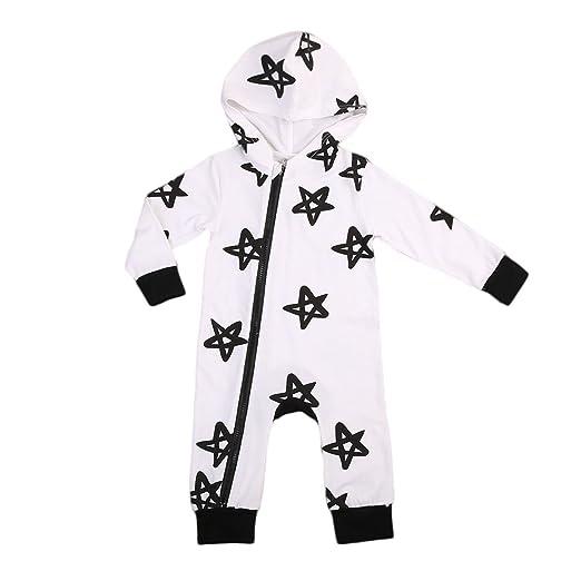 523b537b667a Infant Baby Boy Girls Hooded Long Sleeve Romper Zipper Star Print Bodysuit  Warm Playsuit Outfit (