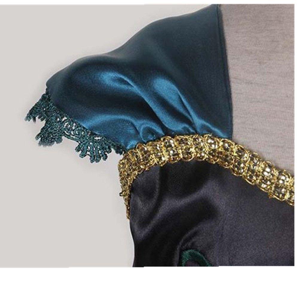 Frbelle® Vestido de Princesa con 3 Piezas de Peluca Tiara Diadema Varita Mágica Disfraz de Carnaval Cumpleaños Fiesta Cosplay Halloween para Niñas de 2 3 4 ...
