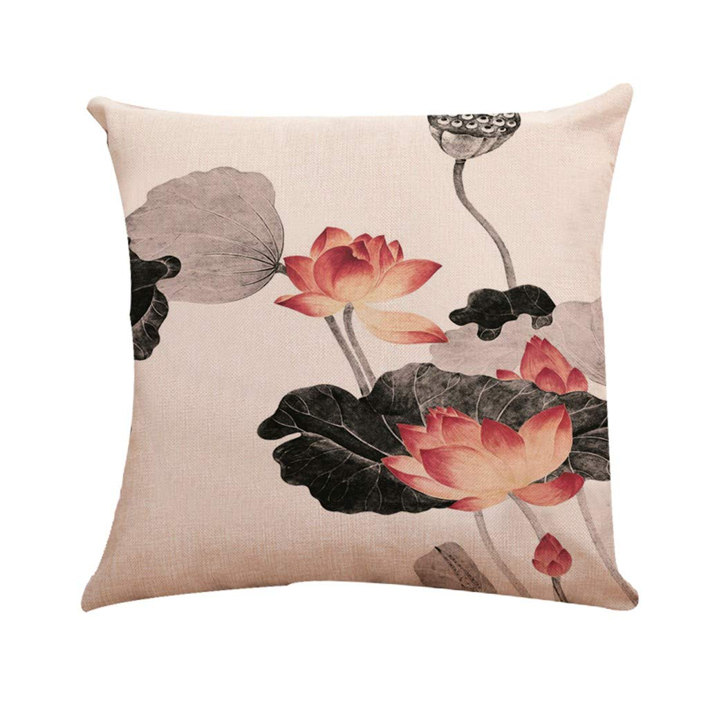 NUWFOR Lotus Pattern Series Household Car Sofa Upholstery Linen Pillowcase(C)
