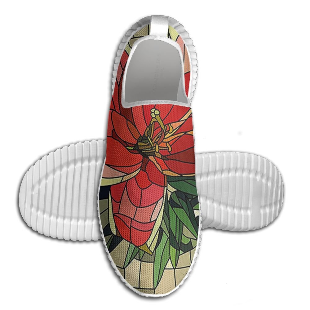 DiamondsJun Unisex Vector Antique Glass Image Flower Lily Like Design With Leaves And Buds Artwork All Over 3D Printed Mesh Slip On Fashion Comfortable Shoes 42