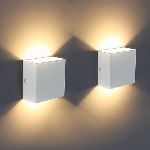 Techvida - Aplique de pared LED, 2 unidades, moderno 6 W, lámpara de pared interior 3000 K