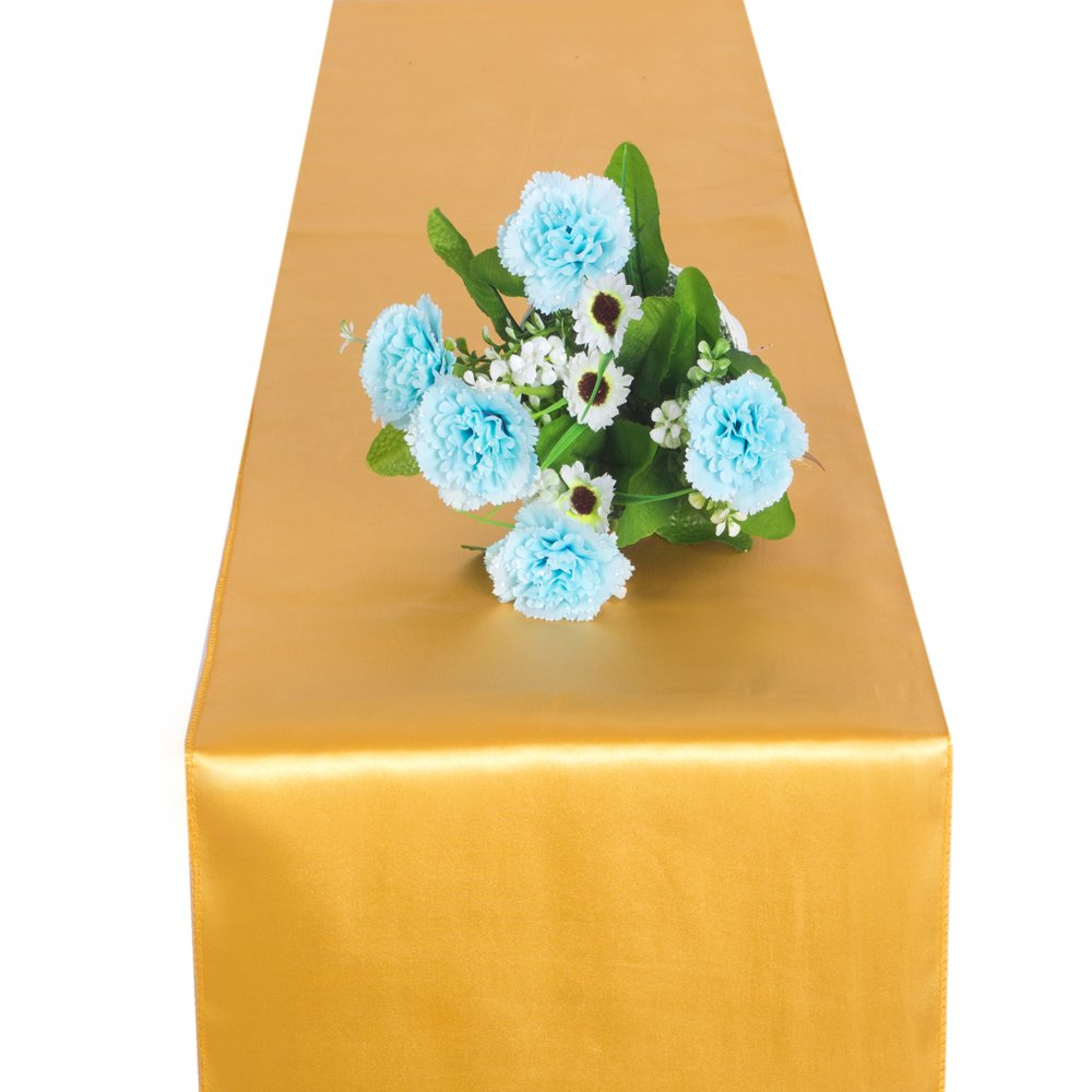 OMG_Shop 11 x 106 Inch Satin Table Runner Wedding Party Banquet Venue Decorations (1 pcs Gold)