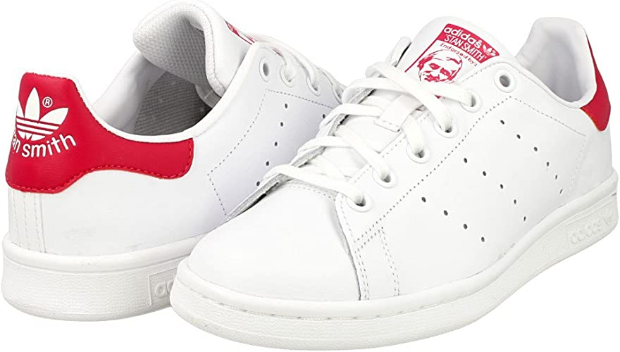 adidas Stan Smith, Baskets Basses mixte enfant, Blanc (Ftwr White/Ftwr  White/Bold Pink), 35.5