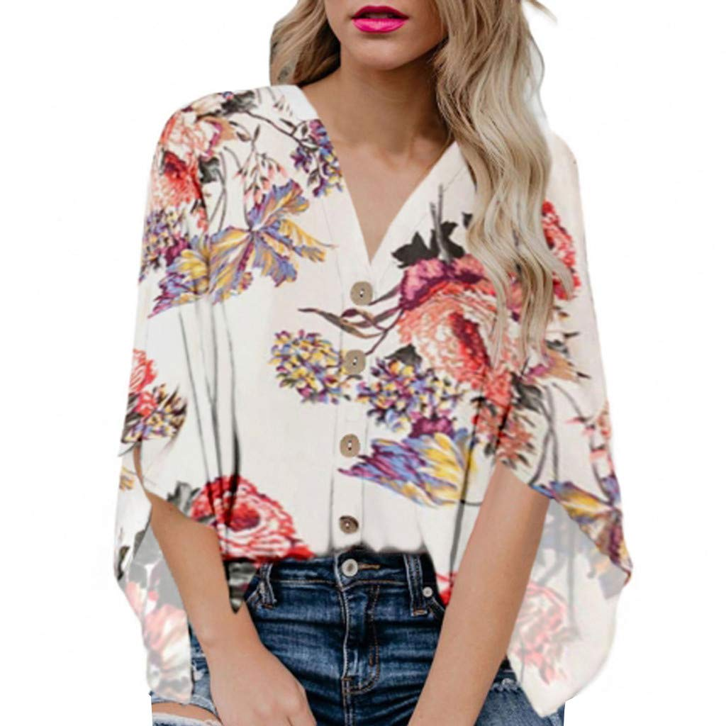 Short Sleeve Tee Blouse for Women,Amiley Womens Floral Print Button Down Short Sleeve Blouse Casual Loose V-Neck Top T Shirt (X-Large, White)
