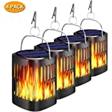 Solar Lanterns Outdoor Hanging, Ollivage Dancing Flame Outdoor Torch Lights Solar Powered Umbrella Night Lights Dusk to Dawn Auto On/Off Landscape Lighting for Garden Camping Party Christmas, 4 Pack