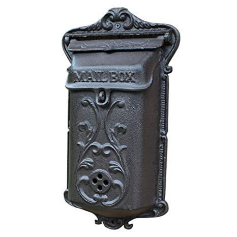 Crest Design Heavy Duty Weatherproof Letter Box Lockable Wall Mounted Mailbox Cast Iron Vintage Residential Mail Box