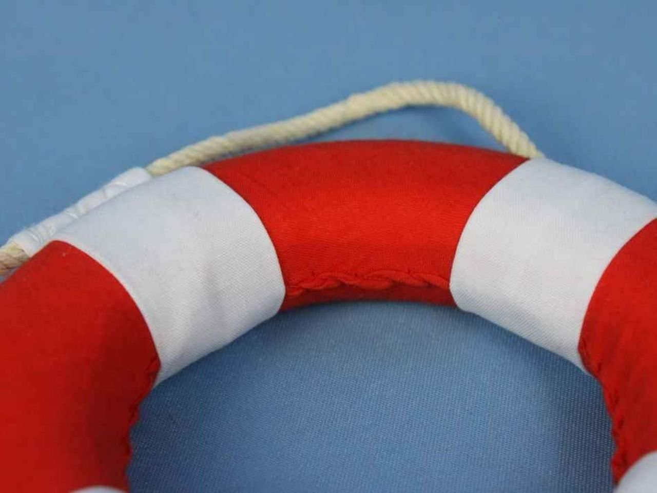 10 Hampton Nautical  Vibrant Red Lifering with White Bands