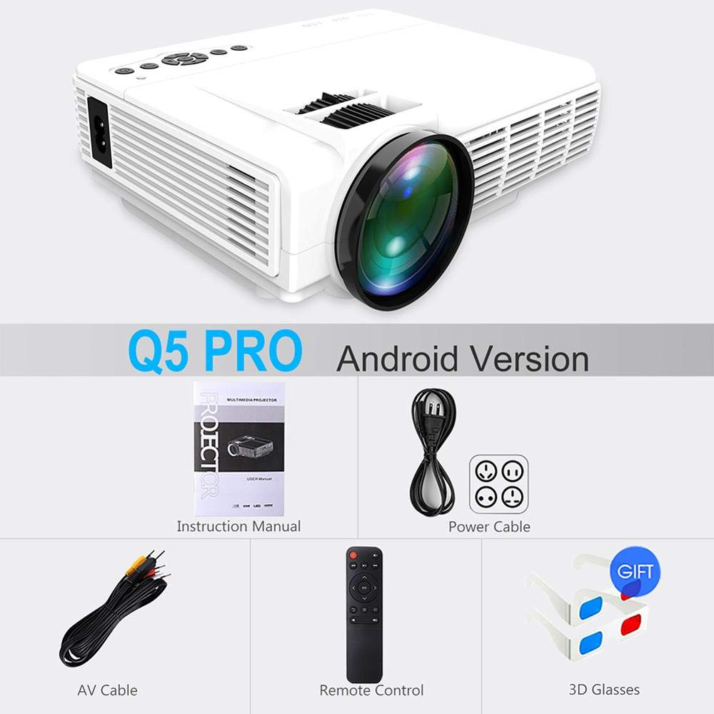 SMEI Potente Q5 Led Proyector Android Full HD Mini Proyector 1080p ...