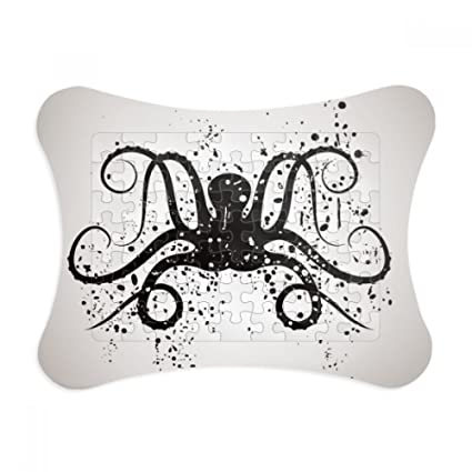 Amazon.com: Black Octopus Marine Life Illustration Paper Card Puzzle ...