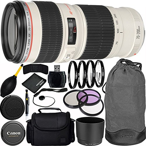 Canon EF 70-200mm f/4L USM Lens Bundle with Manufacturer Accessories & Accessory Kit for EOS 7D Mark II, 7D, 80D, 70D, 60D, 50D, 40D, 30D, 20D, Rebel T6s, T6i, T5i, T4i, SL1, T3i, T6, T5, T3, T2i by Canon