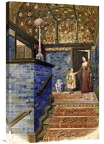 Global Gallery Budget GCS-267890-30-142 T. Hamilton Crawford Staircase Hall with William De Morgan Tiles Gallery Wrap Giclee on Canvas Wall Art Print