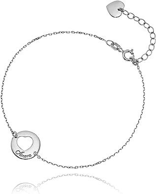 Sterling Silver 925 Double Anneau Cristal Bracelet Réglable Cadeau Gratuit Sac