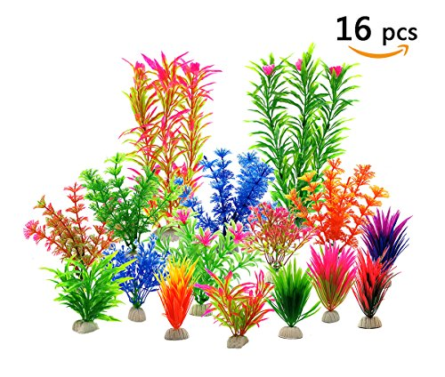 Zivisk Aquarium Fish Tank Decorations Aquarium Home Decor Artificial Aquatic Plants - Plastic Vivid Simulation Plant Creature Aquarium Landscape Assorted Color - 16Pcs by Zivisk