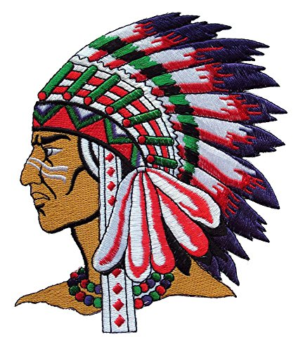 Native American Indian Chief Head Embroidered Iron on Patch