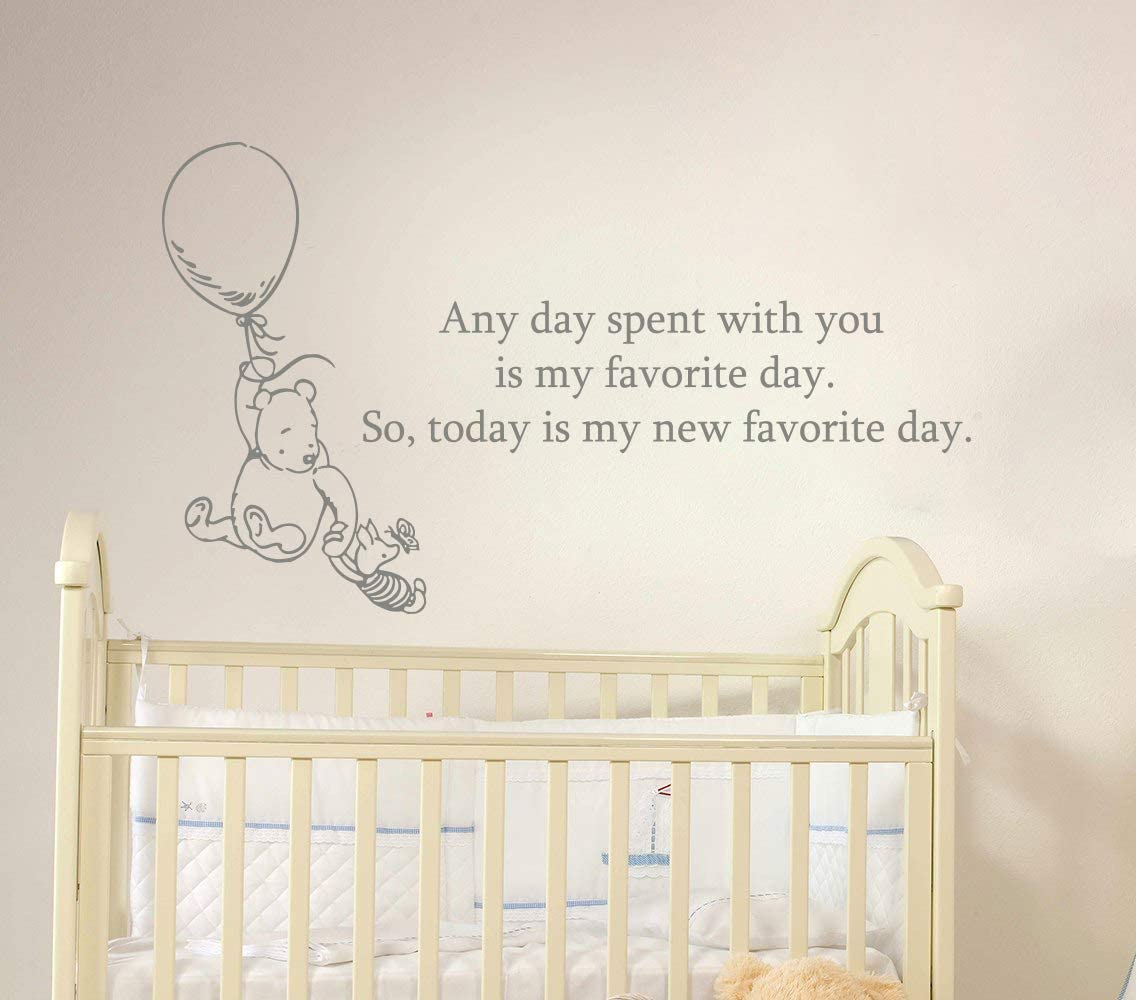 Winnie The Pooh Quote Wall Decal Vinyl Sticker Decals Quotes Any Day Spent with You is My Favorite Day. Wall Decor Nursery Baby Room x61