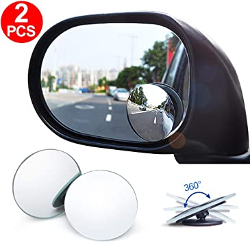 2pcs Round Glass Slim Convex Wide Angle Adjustable Rear Blind Spot View Mirror