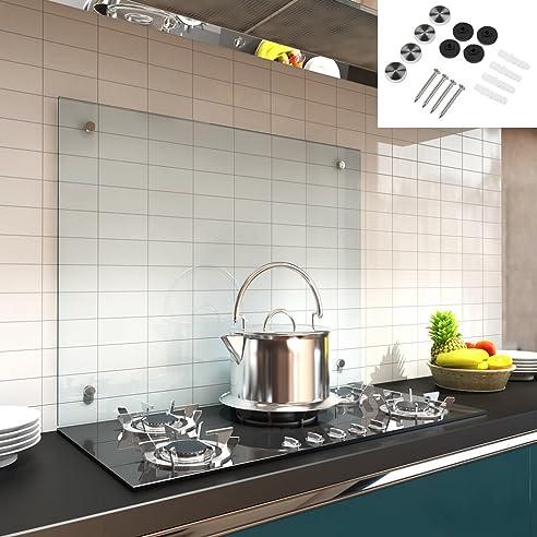 Melko® Glas Küchenrückwand / Spritzschutz, Herdblende – 6 mm ESG ...
