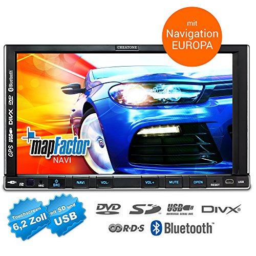2DIN Autoradio CREATONE CTN-9268D56 mit GPS Navigation, Bluetooth, Touchscreen, DVD-Player und USB/SD-Funktion