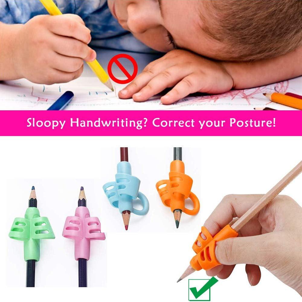 per mancini Confezione da 10 impugnature per matite per bambini in silicone destrorsi e mancini per correggere la scrittura e la scrittura YASQZ ergonomiche