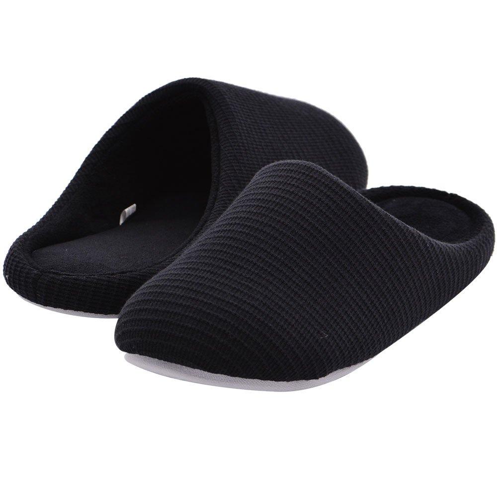 Wishcotton Men's Memory Foam Warm Cotton Slippers Coral Velvet Lined House Shoes w/Indoor Outdoor Sole (S, Black)