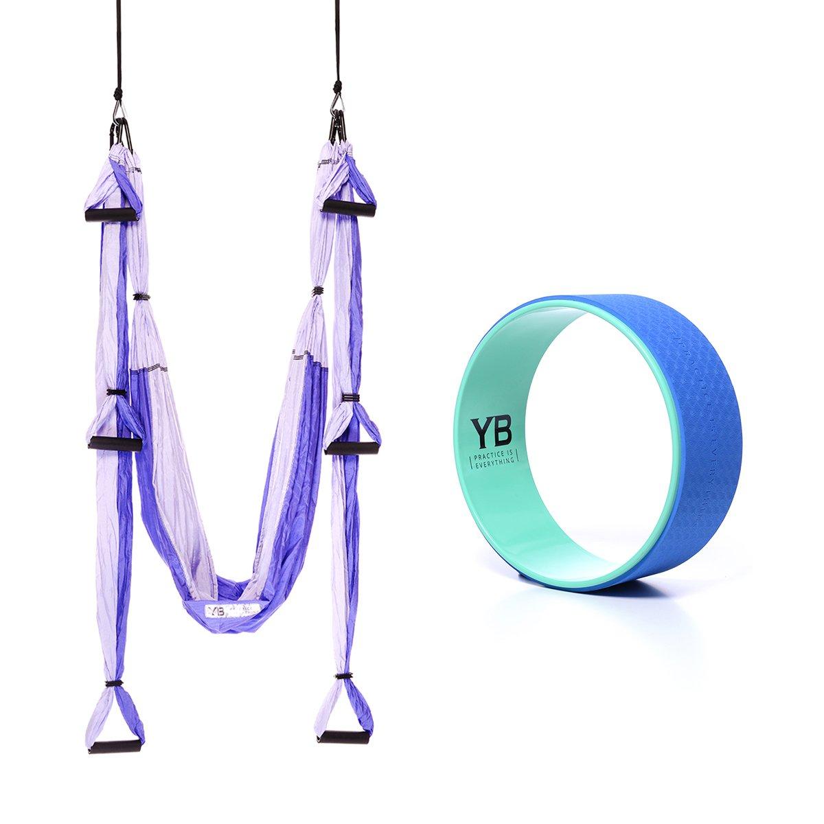 Bundle - 2 Items: Yoga Trapeze Purple & Yoga Wonder Wheel Blue [Bundle] - By YOGABODY - with 2 Free DVD