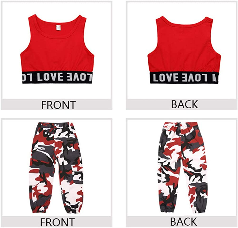 M/ädchen Hip Hop Street Dance Kleidung Set Jazz Dancewear Tank Top Camouflage Pants