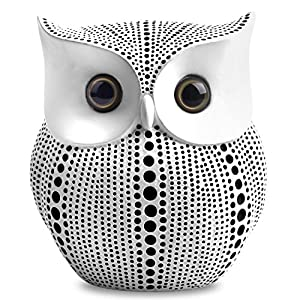 Owl Statue Decor (White) Small Crafted Buho Figurines for Home Decor Accents, Living Room Bedroom Office Decoration…