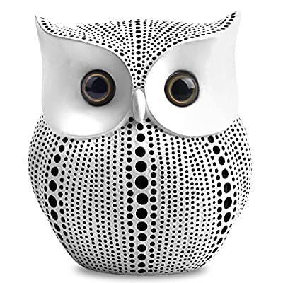 Owl Statue Decor (White) Small Crafted Buho Figurines for Home Decor Accents, Living Room Bedroom Office Decoration… - Pretty chubby crafted owl statue with dots pattern, blends well with most home decor. Just place it on the place you like, such as bookshelf, mantel, TV cabinet, nightstands, table, desk, etc. Small chic owl figurine is approximately 4.5 inch tall. Style: Western Dots Art Design - living-room-decor, living-room, home-decor - 61cg7VvIsIL. SS400  -