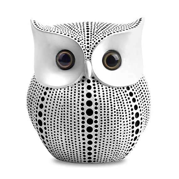 Owl Statue Decor (White) Small Crafted Buho Figurines for Home Decor Accents, Living Room Bedroom Office Decoration, Buhos Bookself TV Stand Decor - Animal Sculptures Collection BFF for Owls Lovers - Pretty chubby crafted owl statue with dots pattern, blends well with most home decor. Just place it on the place you like, such as bookshelf, mantel, TV cabinet, nightstands, table, desk, etc. Small chic owl figurine is approximately 4.5 inch tall. Style: Western Dots Art Design - living-room-decor, living-room, home-decor - 61cg7VvIsIL. SS570  -