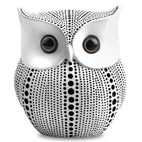 APPS2Car Crafted Owl Statue (White) Small Animal Figurines for Home Decor, BFF for Owl Bird Lovers, Living Room Bedroom Office Decoration - Western Dots Collection by APPS2Car