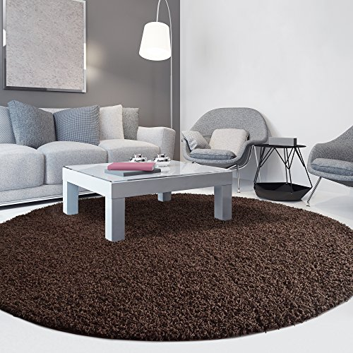 iCustomRug Cozy Soft And Plush Pile, (8' Diameter) Round Shag Area Rug In Chocolate - Brown In Round